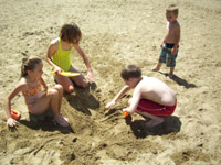 Four children dig in the sand at the beach